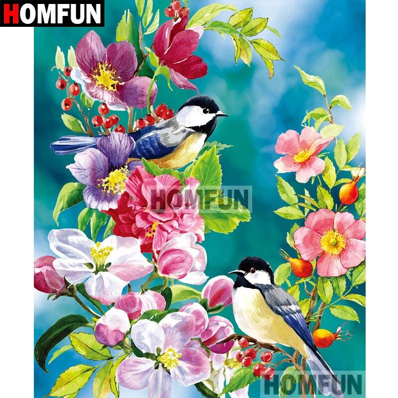 "HOMFUN Completo Quadrado/Rodada Broca 5D DIY Pintura Diamante ""Bird & Flor"" Bordado Ponto Cruz 5D Casa presente Decor A07950"
