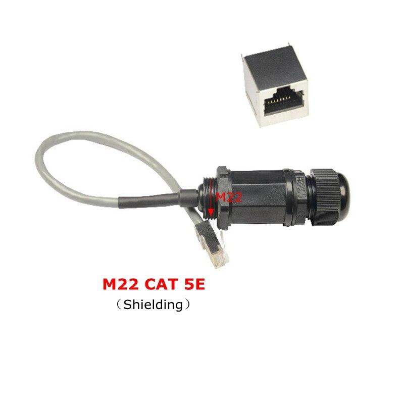 CAT 5E connecteur RJ45 étanche Ethernet LAN RJ 45 pont réseau extérieur AP M22 blindé IP68 câble étanche à leau 25 cm