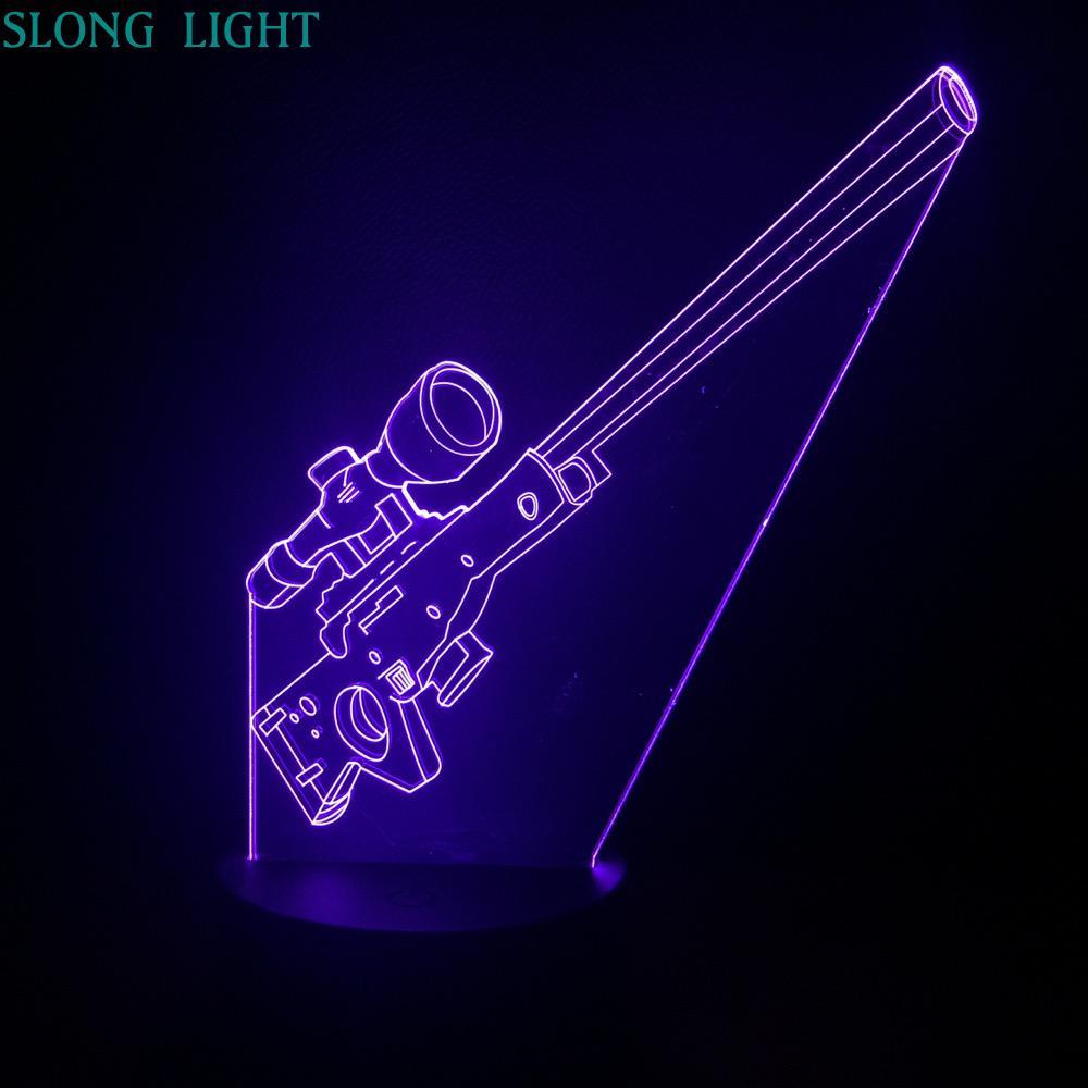 Luz LED de noche de rifle de francotirador AWP, ilusión 3D, Sensor táctil USB RGB, luces decorativas para niños, regalo para niños, arma, lámpara de mesa con forma de arma, escritorio