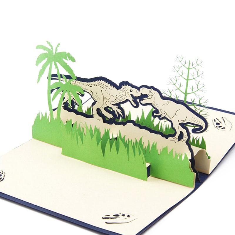 Papel desplegable 3D corte láser dinosaurios tarjetas de felicitación creativas hechas a mano cumpleaños Navidad aniversario postales de recuerdo