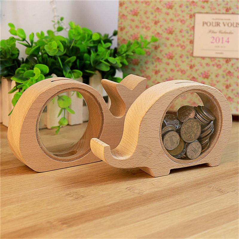 Śliczne drewniane dzieci skarbonki skarbonka słoń wieloryb Hippo świnia kształt przezroczyste drewniane pudełko na monety świąteczne prezenty dla dzieci
