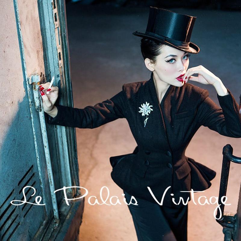 35- women winter vintage 50s wool peplum chaqueta smoking mujer coat in black pinup jacket plus size 4xl manteau femme blazer