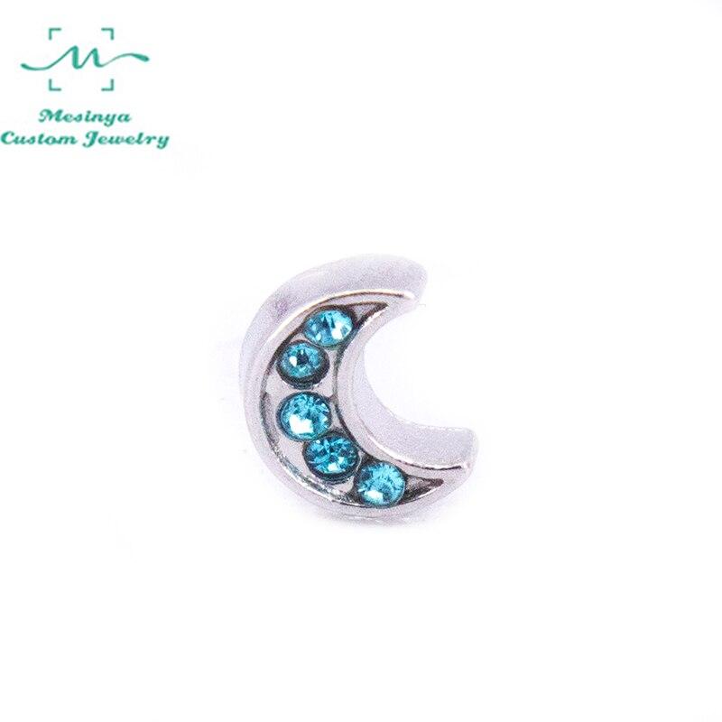 10 шт Новый светло-голубой кристалл акцент Луна пользовательские Плавающие Подвески для стеклянного медальона