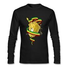 Reggae Lions Zion t-shirt personnalisé à manches longues T-shirts mode Geek col rond coton Rasta Lions T-shirts impression personnalisée T-shirts chemises