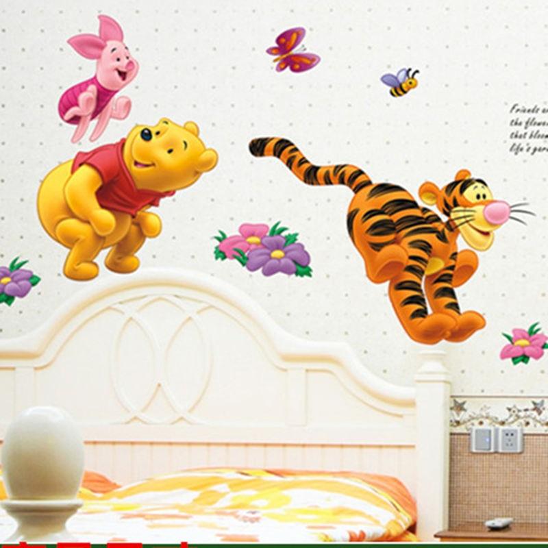 Winnie the Pooh Bear Tiger wall stickers for kids rooms adesivo de parede Cartoon kindergarten Wall decal Nursery Room Decor