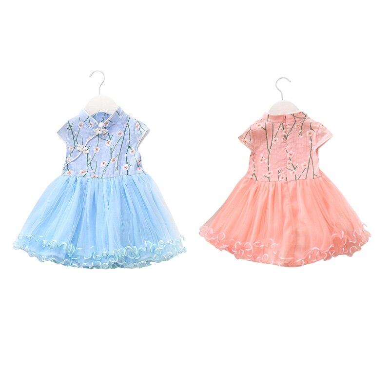 95% algodón alta calidad niñas verano lindo mosaico vestidos ropa para niños ropa nacional viento malla costura vestido azul Rosa adornado