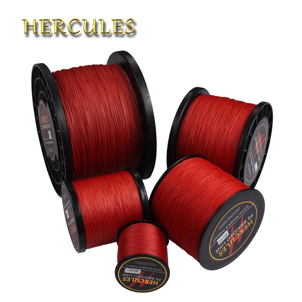 Hercules Braided Fishing Line 8 Strands Red 100M 300M 500M 1000M 1500M 2000M Saltwater Fishing Cord linha multifilamento 8 fio
