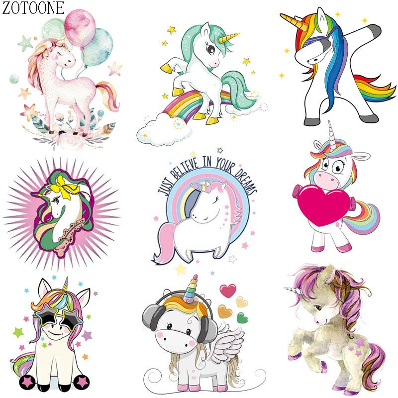 ZOTOONE dibujos animados lindo unicornio ropa parche DIY verano camiseta de transferencia de calor de vinilo de impresión de transferencia de calor pegatinas decorativas D