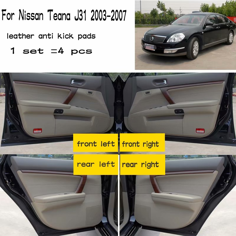 4 pçs couro carro-estilo anti kick almofada anti-dity porta esteira acessórios para nissan teana j31 2003 2004 2005 2006 2007