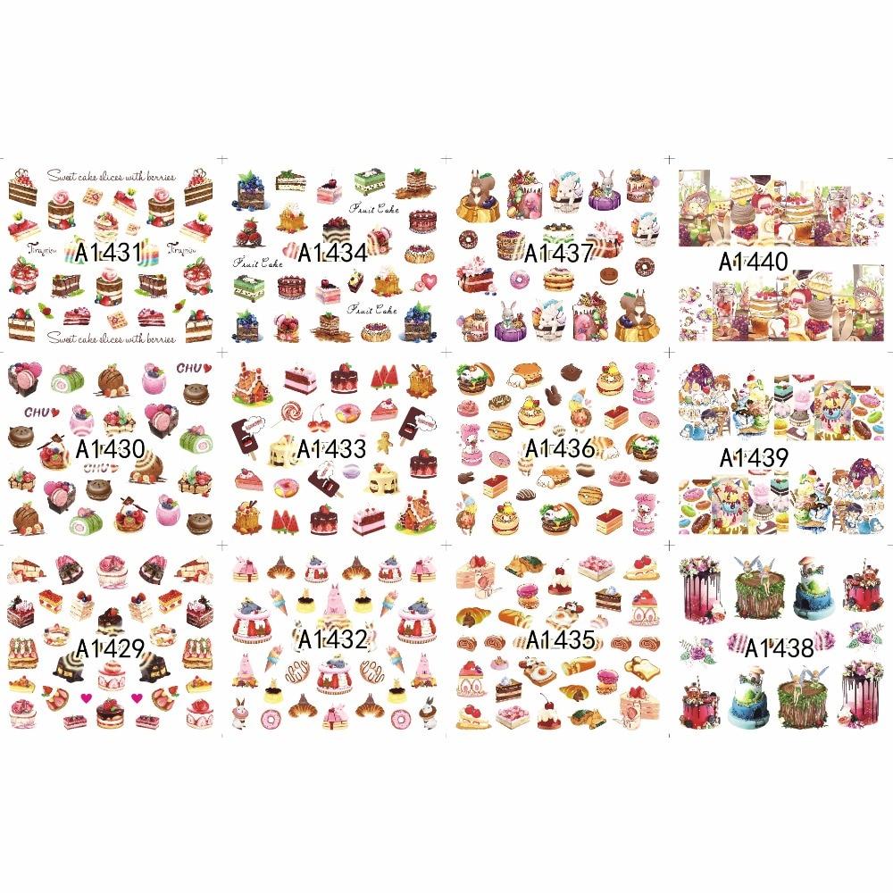 12 paquetes/lote de Arte de uñas belleza agua adhesivo deslizable uña Linda dibujos animados cumpleaños pastel queso postre tiramisú A1429-1440