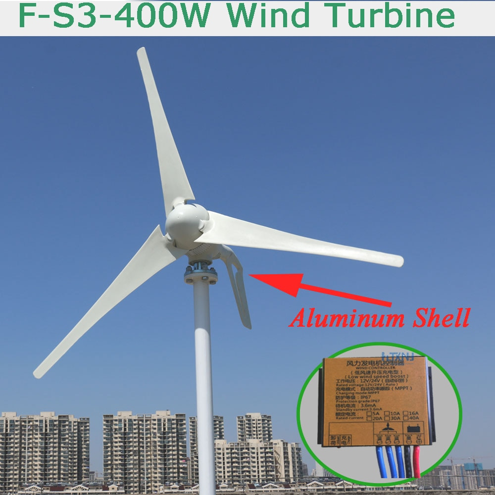 400 watt wind generator, 12v24v automatische adaptive MPPT controller. Drei phase wechselstrom permanent magnet generator.