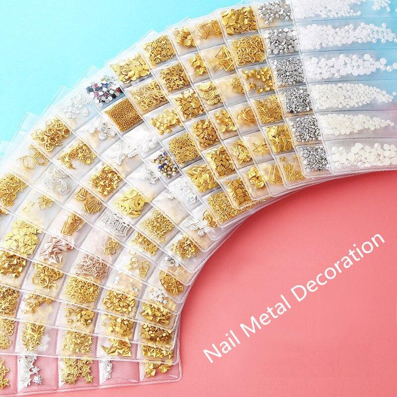 1 paquete mixto 3D DIY marco hueco de Metal de Arte de uñas decoraciones oro remache manicura accesorios DIY carcasa deslizante clavos de uñas