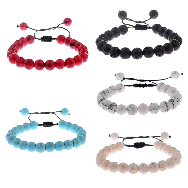 Amader 5 Colors Rope Chain Beaded Bacelet Women Turquoises&White&Red Stone Bead Bracelets For Men Pu