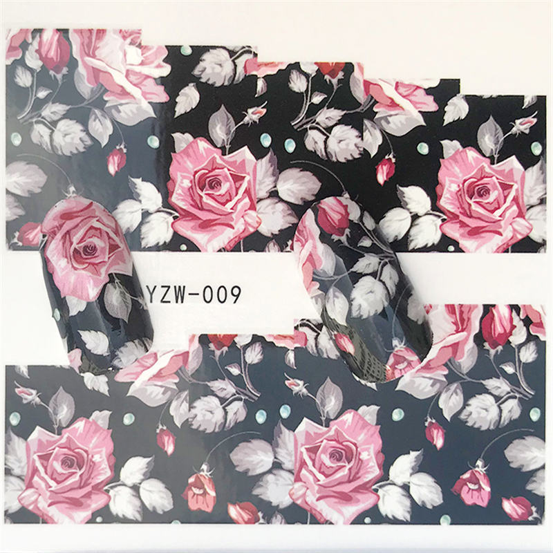 YWK 1 Sheet Nail Water Transfer Sticker Black flower/feather/fruit/cake Nail Art Decor Slider For Nail Manicure Watermark