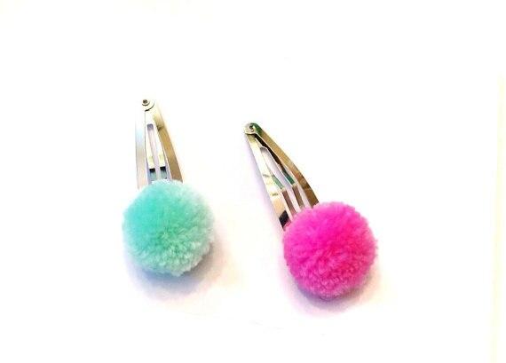 60 piezas conjunto pompón pelo Clip rosa/azul mezcla de cada color de 30 piezas de pinzas para el cabello de talla única