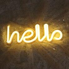 Veilleuse néon Alphabet bonjour néons pour anniversaire fête de mariage chambre tenture murale décor lumière nuit
