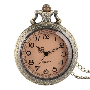 YISUYA Brown Glass Quartz Pocket Watch Bronze Mens Quartz Transparent Steampunk Necklace Christmas Gift Women