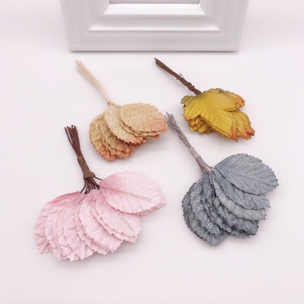 12 шт 4 см шелк, в форме листа ручной работы Цветы для скрапбукинга искусственный цветок для DIY свадьбы украшения дома аксессуары для рукоделия