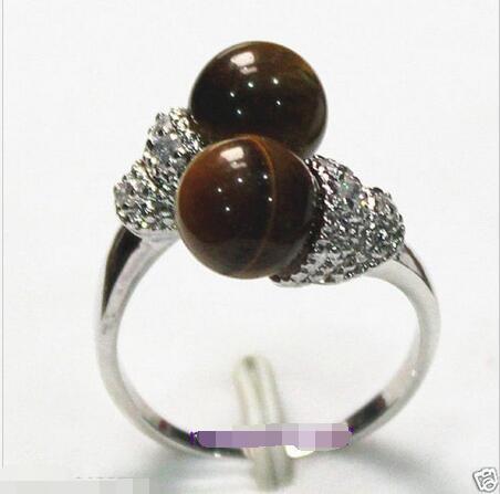 Envío Gratis> @ precio al por mayor 16new 16^ New ^ nuevo anillo de joyería de cuentas de ojo de tigre encantador talla 8 #