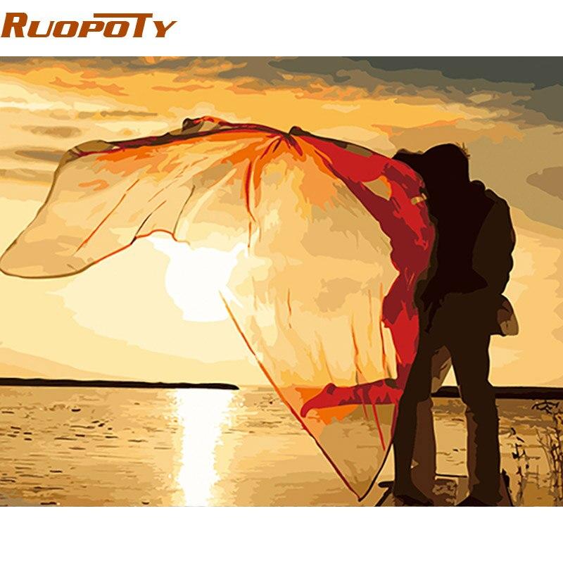 Фоторамка RUOPOTY Kiss для самостоятельной живописи по номерам, романтическая Современная Настенная Акриловая Краска на холсте для свадебного украшения, 40x50 см