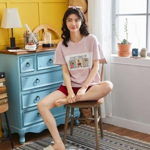 Summer 100% Cotton Pajamas Women Sweet Girl Sleepwear Short Sleeve Casual Nightwear Big Size Sleepshirt