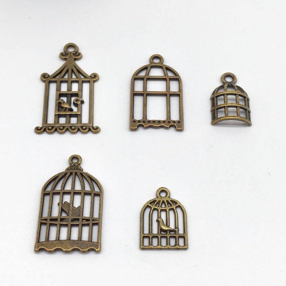 30 piezas mezclar 5 conjunto de diferentes de aleación de jaula encantos pájaro colgantes DIY, collar, pulsera, pendiente, joyería