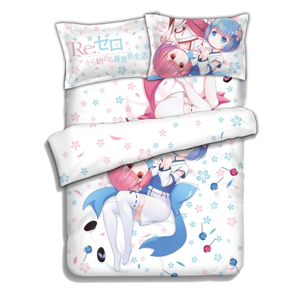 مجموعات الفراش الكرتونية JK Re Life في عالم مختلف من zero Rem Ram ، طقم لحاف تأثيري ، ملاءة سرير مسطحة ، غطاء لحاف ، غطاء وسادة