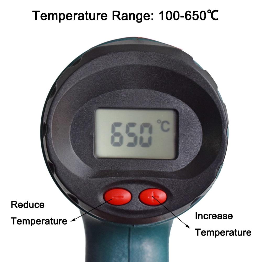 NEWACALOX 2000W 220V EU Plug Industrial Electric Hot Air Gun Thermoregulator LCD Heat Guns Shrink Wrapping Thermal Heater Nozzle