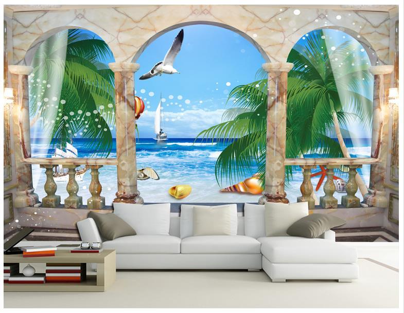 Papel tapiz de pared 3D, papel tapiz de Mural personalizado, columna romana 3D, vista al mar, TV, sofá, papeles de pared de fondo, decoración del hogar
