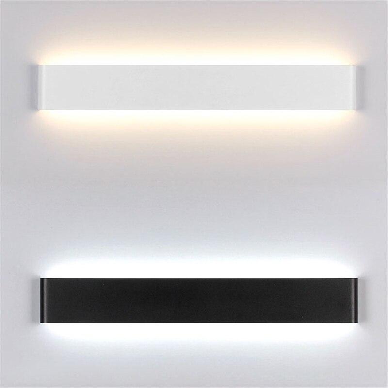 Luces nórdicas blancas/negras, lámpara de pared de Metal pintada de acrílico, luces Led modernas para baño, espejo, Decoración de cocina, iluminación de escaleras interiores