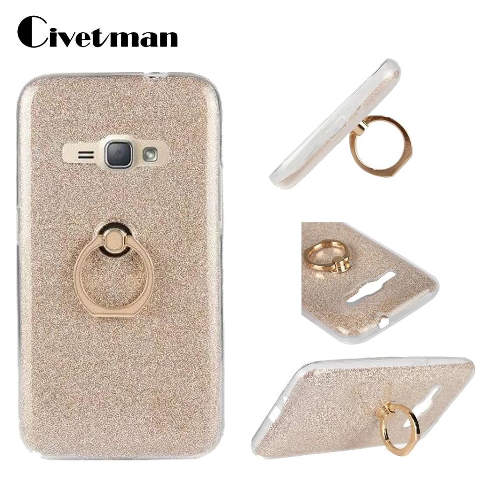 Чехол для телефона Samsung Galaxy J1 2016 Duos J120 J120F J120H, прозрачный силиконовый чехол из ТПУ с подставкой и блестящим кольцом