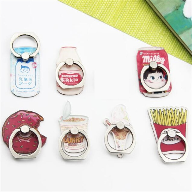 UVR nuevo diseño Universal de Metal anillo de dedo patatas fritas teléfono móvil titular Cute Chips leche botella Donuts anillo de soporte del teléfono de dibujos animados