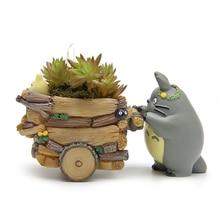 Useber Zakka Cartoon Style Mini Flower Pots Succulents  Pot Small Carts  Models Totoro Doll Ornaments DIY Resin