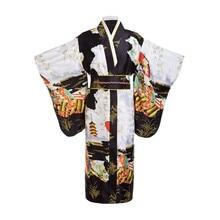 Черное женское японское платье-кимоно Yukata, винтажное вечернее платье с цветами Obi, карнавальный костюм, один размер, ZW01