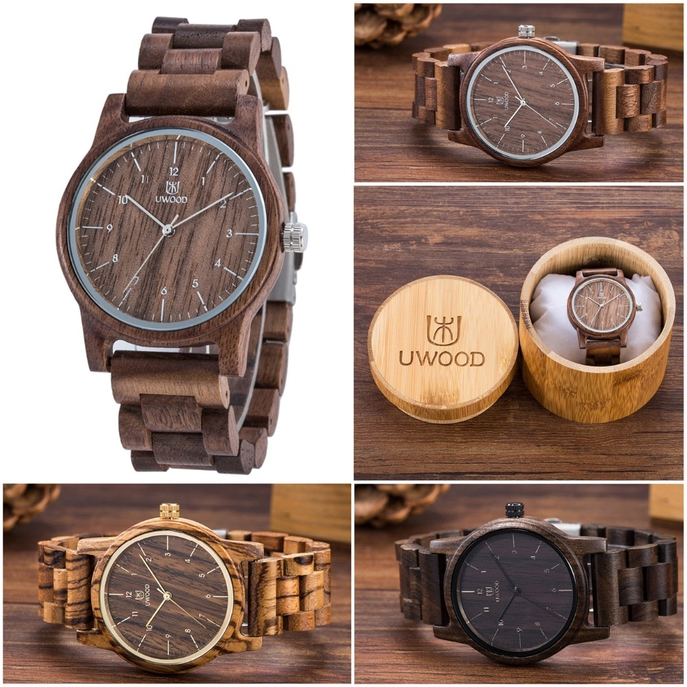 2020 Uwood Wooden Watches Wood Men`s Wristwatches Wooden Band Japan Move' 2035 Quartz Fashion Wood W