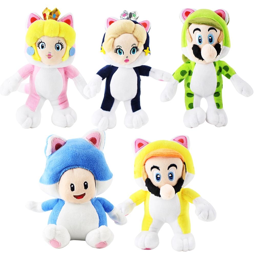 23cm 5Styles Super Mario Bros Plush Toys Soft Stuffed Cat Mario Luigi Toad Peach Rosalina Dolls Kids Gift Animal Plush Toy