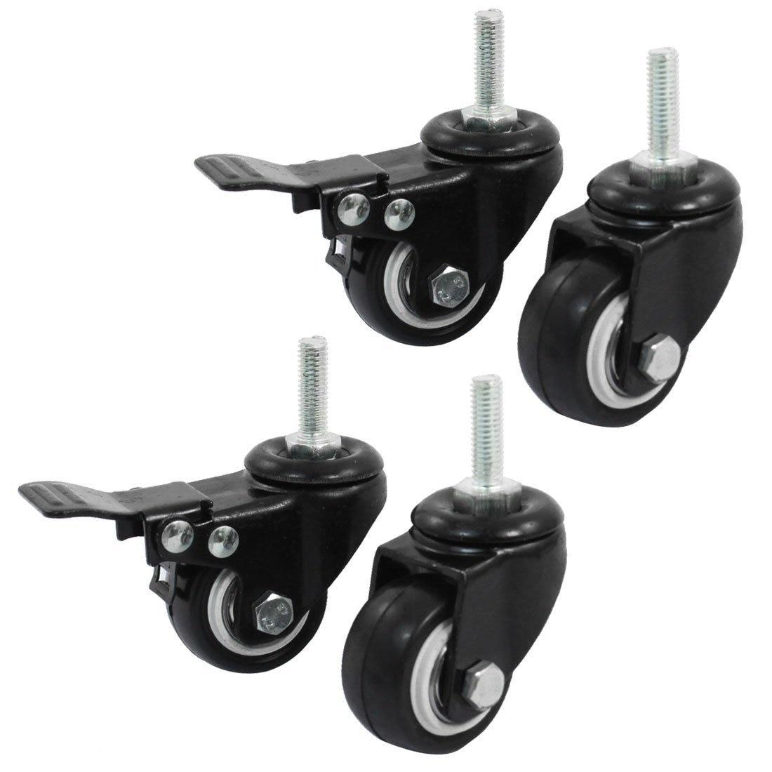 M8 Metal 360 giratorio 4 unids/lote 1,5 pulgadas carrito de la compra freno giratorio rueda giratoria doble bola rodamientos negro poliuretano