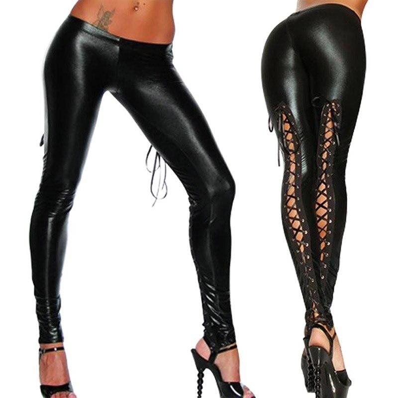 Valink 2017 Punk Leggings mujeres Sexy como encaje negro imitación cuero gótico mojado Look legging de látex Pantalones Mujer