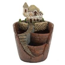 Mini maison Figurines résine Pot de fleur pour herbe cactus plantes succulentes planteur maison jardin Micro-paysage décor artisanat