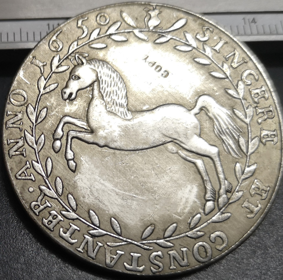 1650 Брунсвик-люнебург-Целле 1 Thaler-Кристиан лудвиг Посеребренная копия монеты