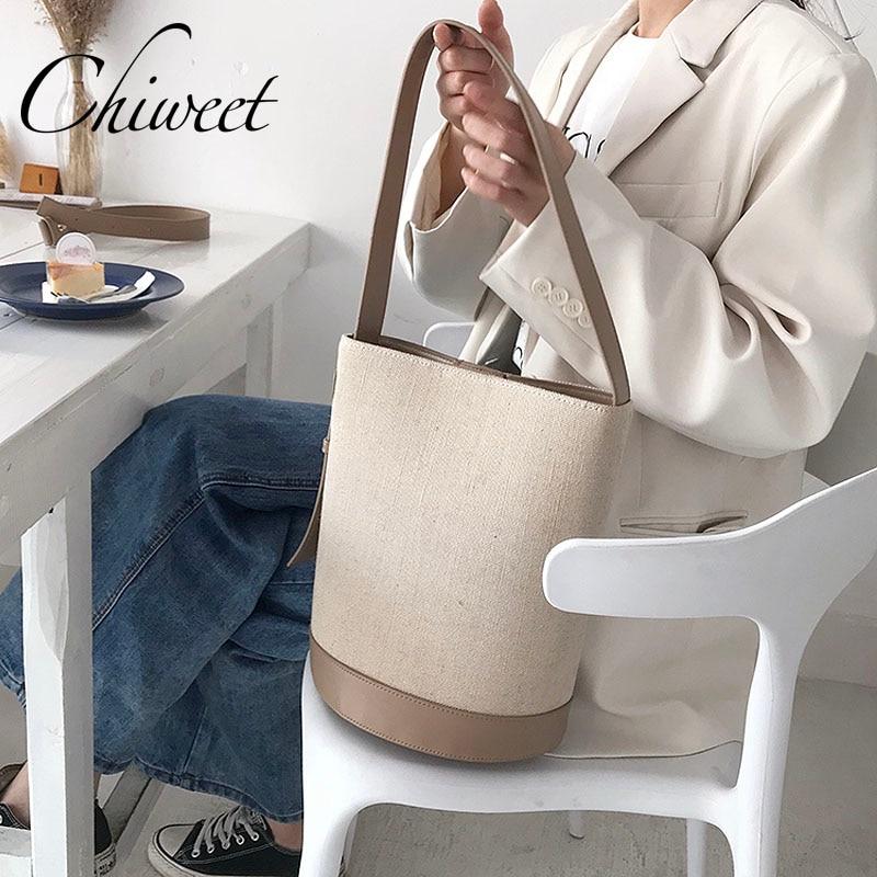 Chic Luxury Women Large Bucket Bag Canvas PU Leather Handbags Patchwork Shoulder Bag Korean Designer Simple Ladies Messenger Bag