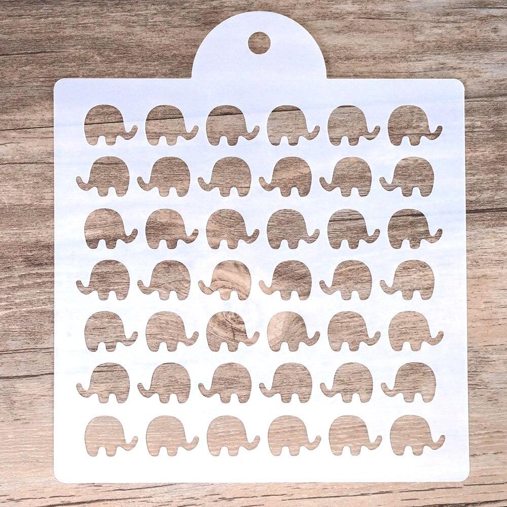 Plantilla de elefante en capas DIY de 15 cm para pintura de pared álbum de recortes estampado álbum de sellos tarjetas de papel de grabado decorativas
