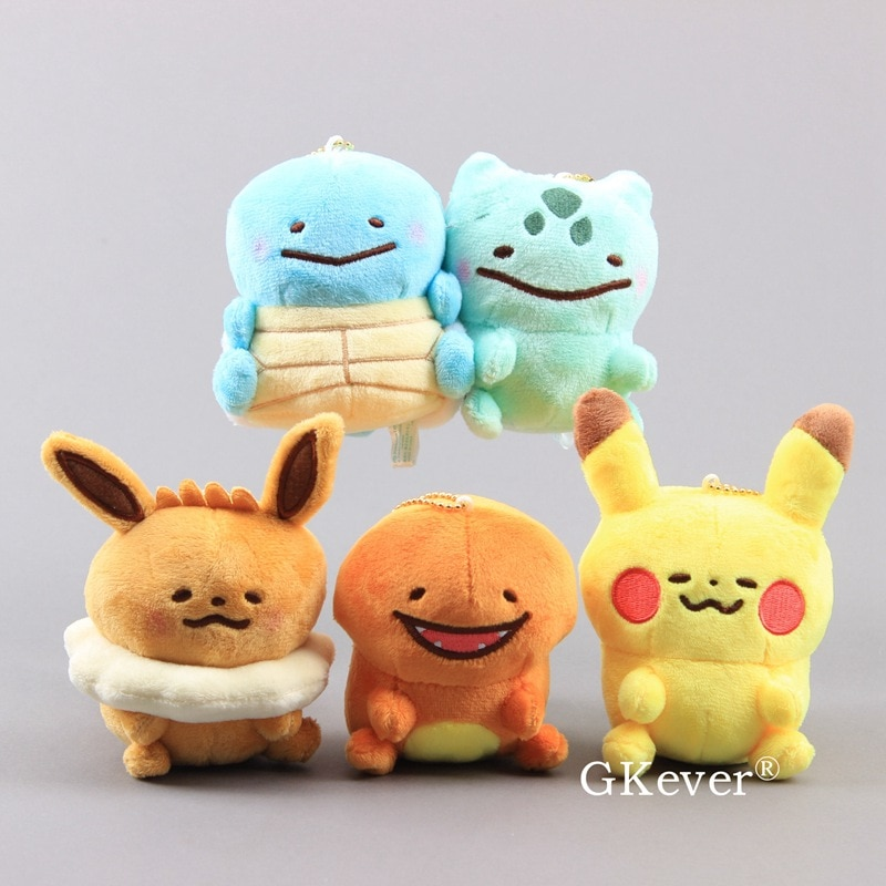 Ditto Eevee Charmander Bulbasaur Plush Pendant with Keychain Lovely Pikachu Mini Small Stuffed Dolls 9-12cm