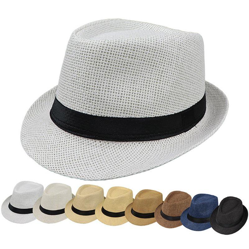 Kinder Kinder Sommer Strand Stroh Hut Jazz Panama Trilby Fedora Hut Gangster Kappe Outdoor Atmungsaktive Hüte Mädchen Jungen Sonnenhut