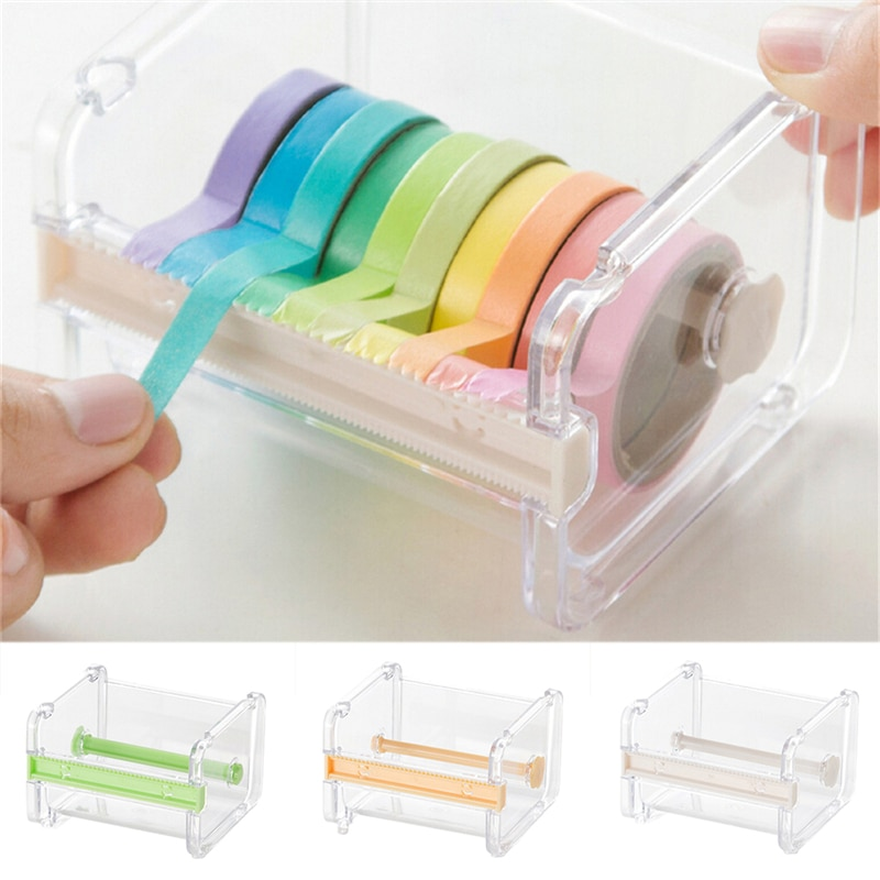 Papeterie japonaise masquage ruban Cutter Washi ruban rangement organisateur Cutter bureau ruban distributeur fournitures couleur Beige seulement