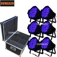 6pcs/lot&flight case UV light 54pcs 3W dj disco indoor stage lighting wash effect dmx512 54pcs 3w uv led par can light
