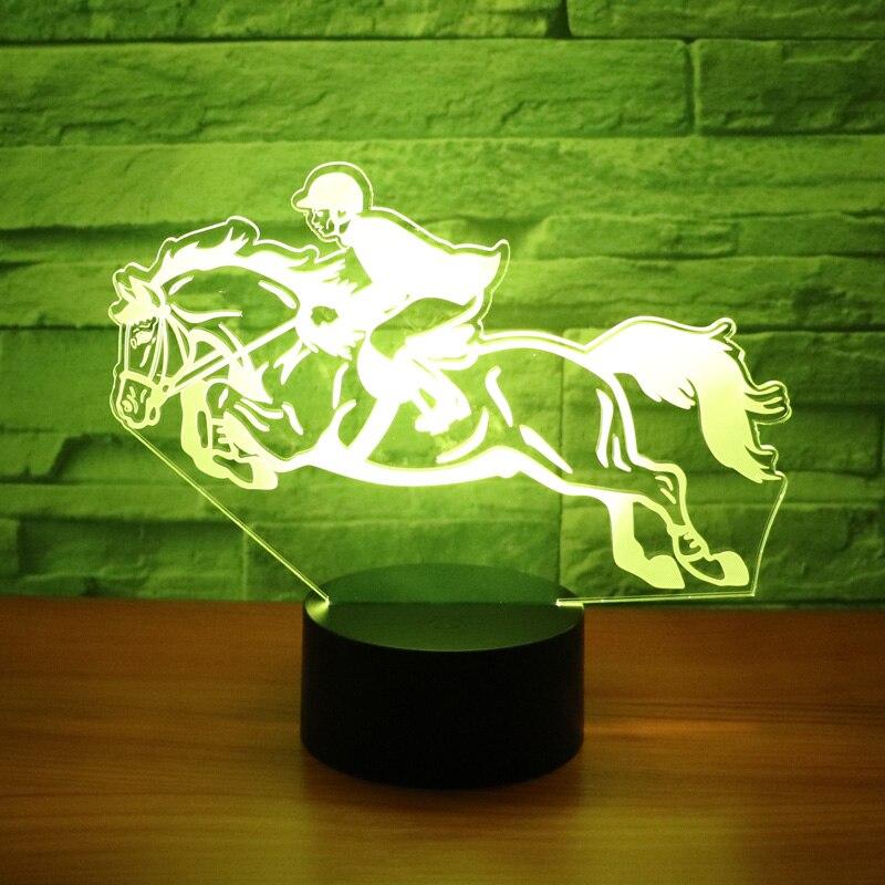 Luz de noche LED 3D montar a caballo con 7 colores de luz para la decoración del hogar lámpara increíble visualización óptica ilusión