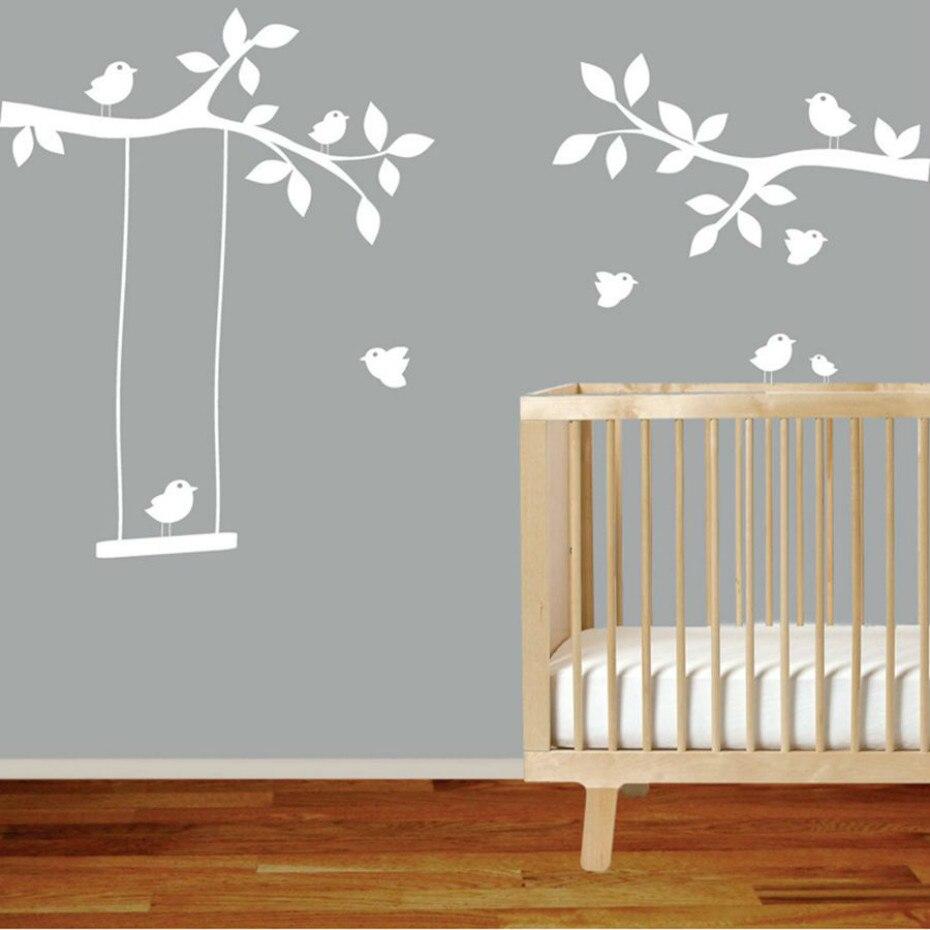Ветви Дерева, развевающиеся птицы, наклейка на стену, съемный стикер на стену детской стены, художественная роспись, детская комната для мал...