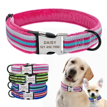 Personalized Dog Collar Reflective Custom Nylon Puppy Small Dog Collars Engraved for Small Medium Large Pet Cat Pitbull