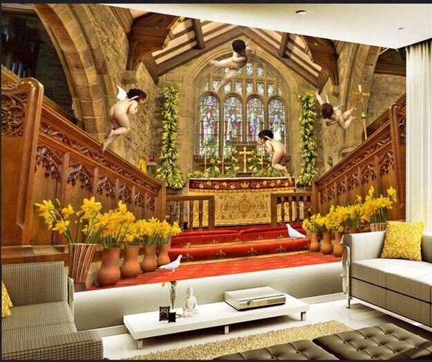 Último mural grande en 3D personalizado, iglesia de Los Ángeles 3 d de estilo europeo de lujo, fondo de la tv de la sala de estar, papel tapiz de pared del dormitorio
